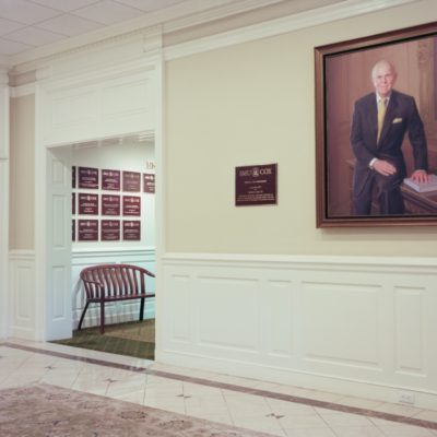 School lobby with Mr. Cox